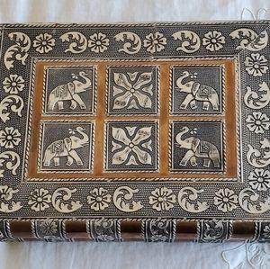 Storage & Organization - Jewelry box etched with elephants India